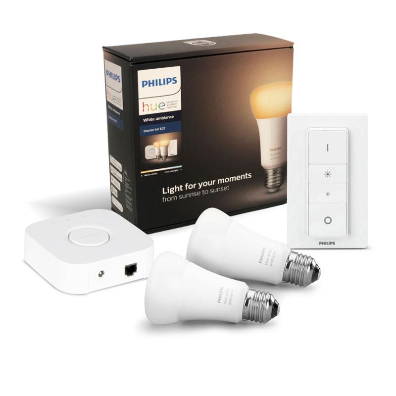 Kit Lampadas luz branca regulavel 2x9,5W 800lm E27 LED Philips HUE